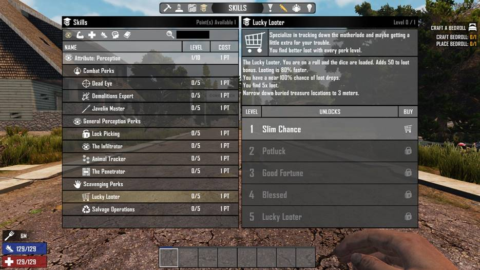7 days to die better perks lucky looter, 7 days to die loot, 7 days to die perks