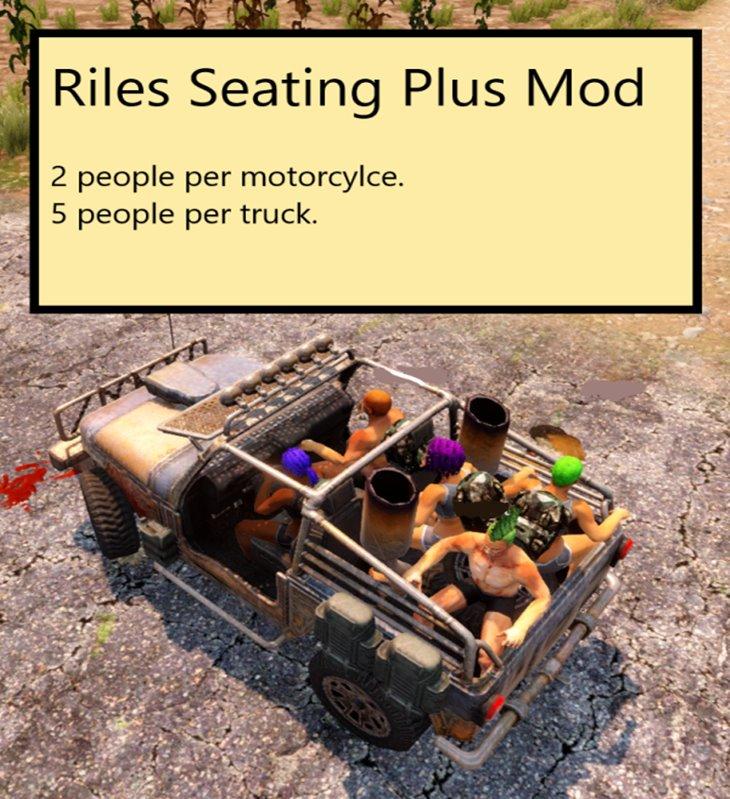 7 Days to Die Riles SeatingPlus, 7 days to die motorcycle, 7 days to die truck mods, 7 days to die vehicles
