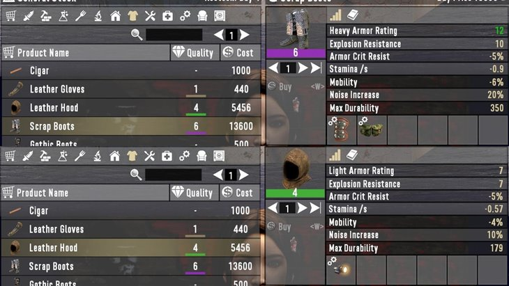 Armor and Cloth Sold With Mods