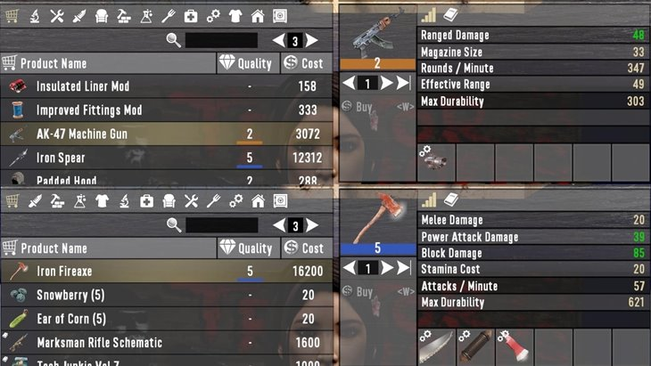 7 days to die guns and tools sold with mods, 7 days to die weapons, 7 days to die tools, 7 days to die trader