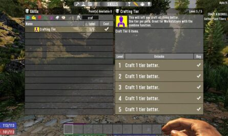7 days to die crafting tier - crafting perk for combiner, 7 days to die perks
