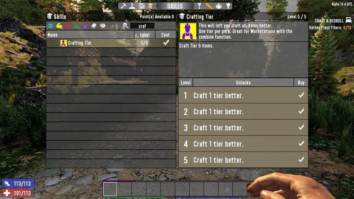 7 days to die crafting tier - crafting perk for combiner, 7 days to die perks
